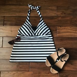 Black and White Striped Tankini Bathing Suit Top